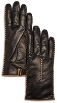 Bloomingdale's Cashmere Lined Whip Stitch Leather Gloves