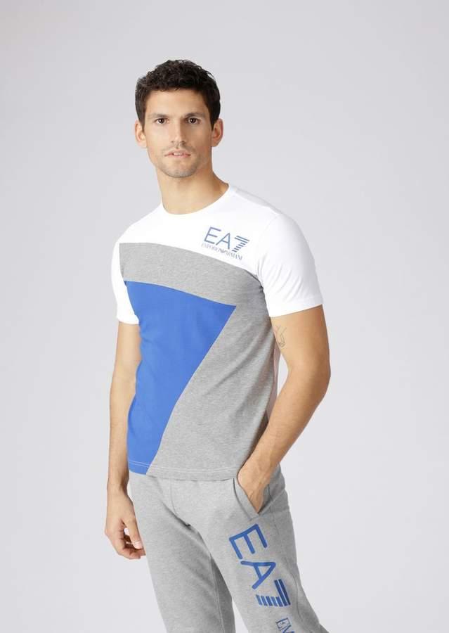 93a5692596 Ea7 Stretch Cotton Color Block T-Shirt With Logo