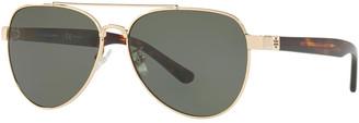 Tory Burch Polarized Metal Aviator Sunglasses