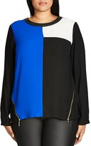 City Chic Puzzle Pieces Colorblock Top