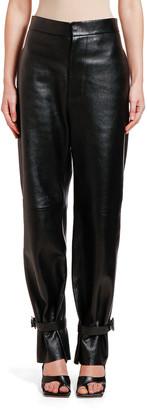 Bottega Veneta Leather Tabbed-Cuff Pants