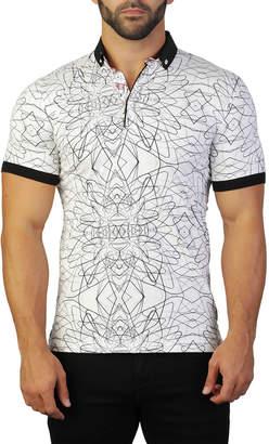 Maceoo Men's Mozart Line-Print Polo Shirt