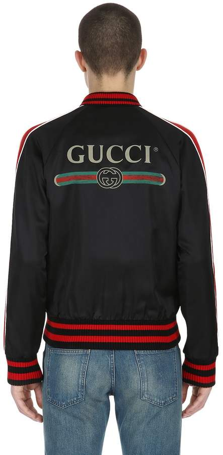 Gucci Patched Duchesse Satin Bomber Jacket