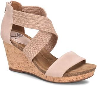 Sofft Elastic Crossband Wedge Sandals - Chalette