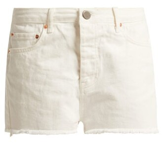 Raey Hawaii Raw-cut Denim Shorts - Womens - White