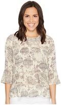 Lucky Brand Ruffle Print Shirt Women's Long Sleeve Pullover
