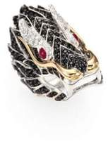 John Hardy Naga Black Sapphire, Ruby, 18K Yellow Gold & Sterling Silver Dragon Ring
