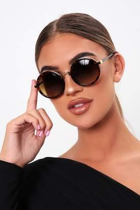 I SAW IT FIRST Brown Round Thick Framed Sunglasses