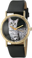 Whimsical Watches Kids' P0120041 Classic Egyptian Mau Cat Black Leather And Goldtone Photo Watch