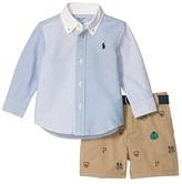 Polo Ralph Lauren Shirt, Belt Shorts Set (Infant) (Harbor Island Blue Multi) Boy's Active Sets