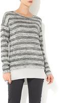 Wallis Grey Metallic Stripe Top
