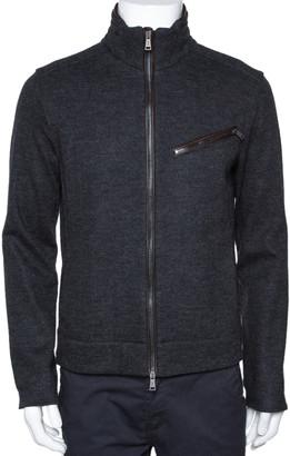 Ralph Lauren Grey Herringbone Wool Zip Front Jacket M
