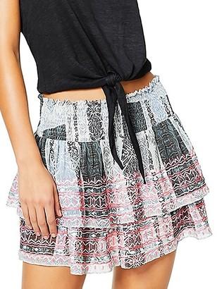 Ramy Brook Tribal-Print Shirred Tiered Skirt
