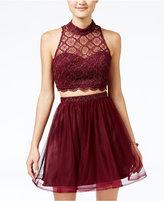 Sequin Hearts Juniors' 2-Pc. Lace Party Dress