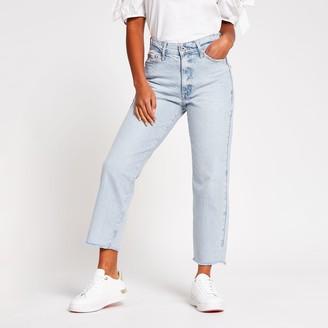River Island Womens Petite Blue Blair high rise straight jeans