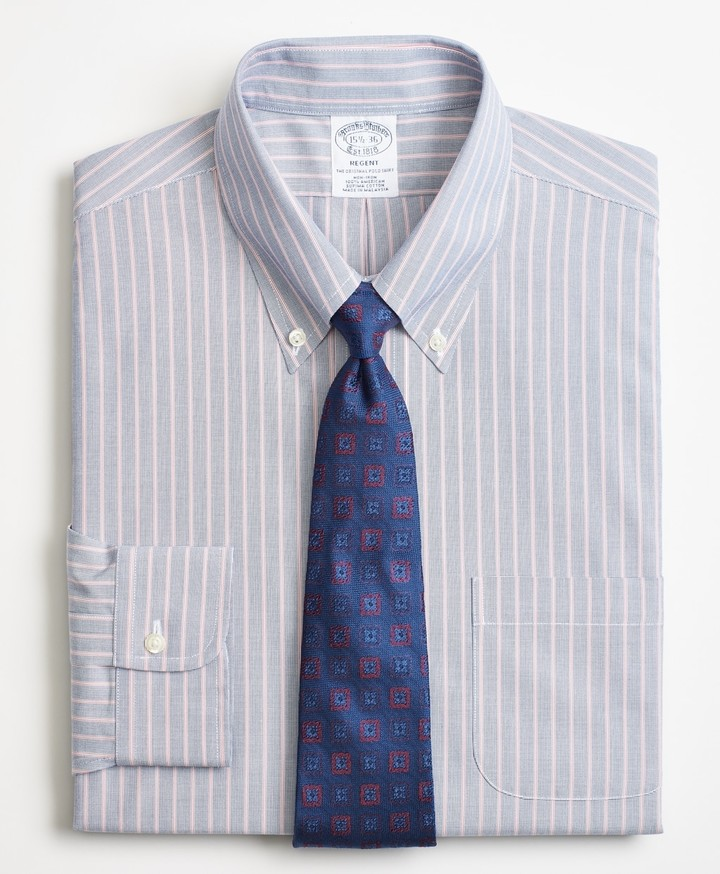 Brooks Brothers Regent Fitted Dress Shirt, Non-Iron Double Stripe