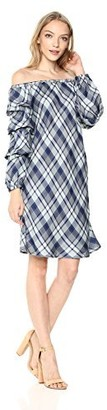 Max Studio Women's Woven Plaid Sleeveless Dress