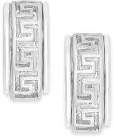 Charter Club Silver-Tone Greek Key Pattern Clip-On Hoop Earrings