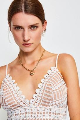 Karen Millen Strappy Geometric Lace Body