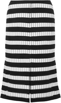 Akris Embroidered Wool-blend Felt Midi Skirt