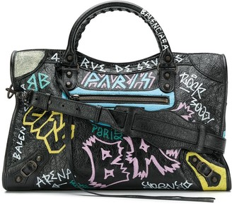 Balenciaga Classic City Graffiti Long Strap bag