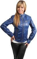 House of Leather Ladies Biker Style Leather Fitted Jacket Womens Sr01 Purple Navy Red (X SMALL, )