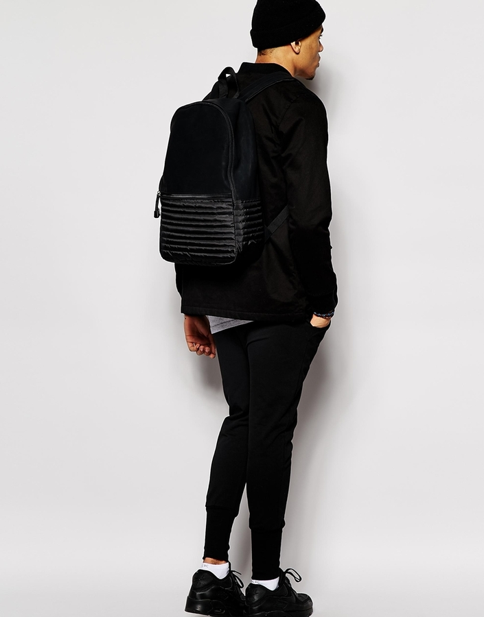 Asos Backpack In Black With Quilted Nylon