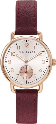 Ted Baker Hannahh Sub-Eye Leather Strap Watch, 34mm
