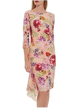 Gina Bacconi Ayna Jersey Print And Chiffon Dress