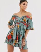 Club L London bardot satin floral dress