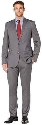 Kenneth Cole Reaction Solid Stretch Skinny Suit (Silver) Men's Suits Sets