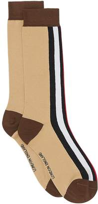 Burberry Icon Stripe Intarsia Cotton Blend Socks