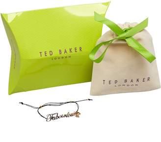 Ted Baker Womens Fabowlous Slogan Cord Bracelet Plain Metal