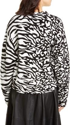 Proenza Schouler White Label Animal Jacquard Cotton Blend Sweater