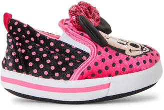 Minnie Mouse (Toddler Girls) Pink & Black Character Slippers