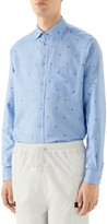 Gucci Symbols Fil Coupe Cotton Button-Up Shirt