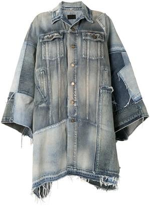 Saint Laurent Patchwork Denim Cape Dress