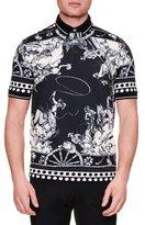 Dolce & Gabbana Western-Print Pique Polo Shirt, Black/White