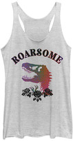 Fifth Sun Women's Tank Tops WHITE - White Heather 'Roarsome' Racerback Tank - Women & Juniors