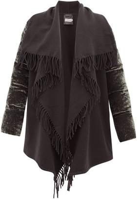 Moncler Mantella Fringed Quilted-velvet Coat - Womens - Grey