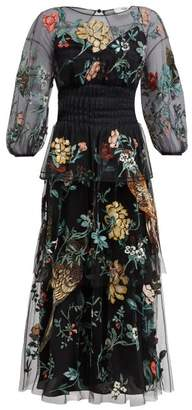 Fendi Floral-embroidered Tulle Overlay Silk Gown - Womens - Black Multi