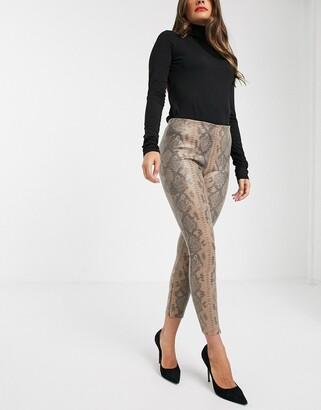 Vila textured pants in snake print