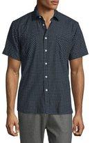 Billy Reid Check Short-Sleeve Woven Shirt, Navy
