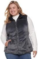 Plus Size Weathercast Reversible Cozy Fleece Vest