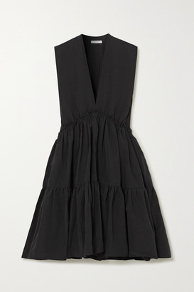 NACKIYÉ L'orient Ruched Tiered Cotton, Linen And Silk-blend Dress - Charcoal