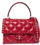 Valentino Candystud Quilted Leather Shoulder Bag - Red