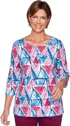 Alfred Dunner Women's Embellished Geometric Print Top