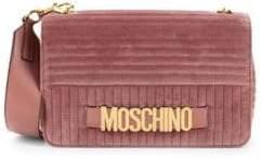 Moschino Logo Velvet Crossbody Bag