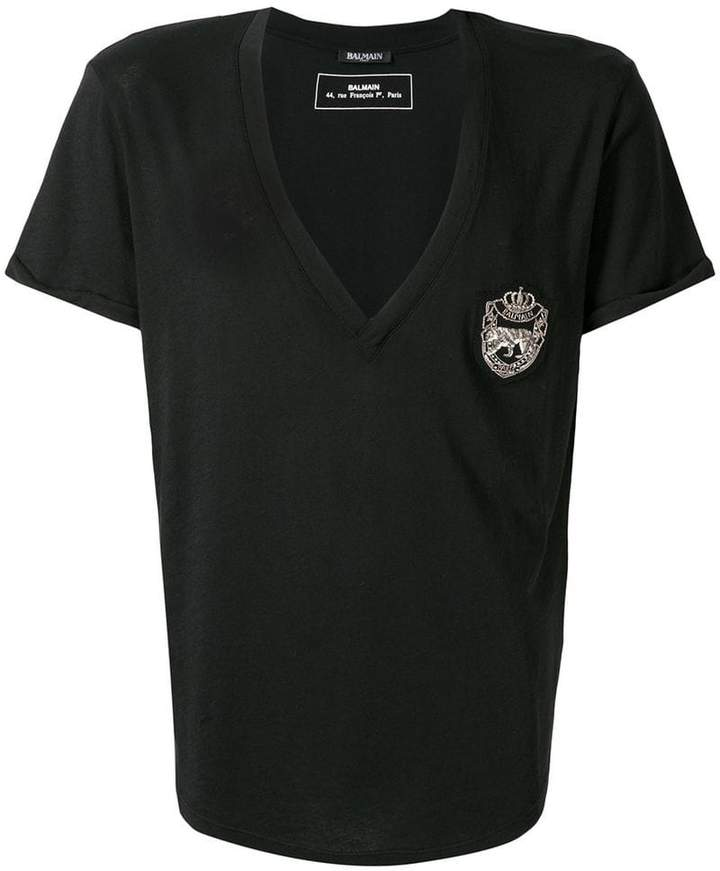Balmain embroidered patch T-shirt