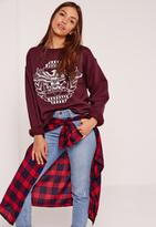 Missguided Nashville Eagle Sweatshirt Burgundy